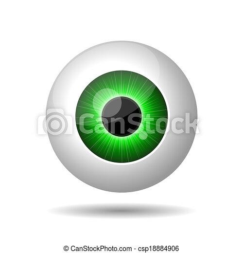 Ojo verde en fondo blanco. - csp18884906