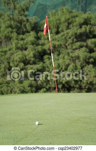 Bola de golf blanca en verde - csp23402977