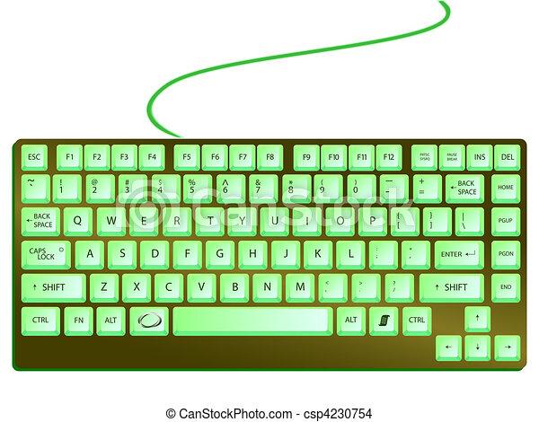 Teclado brillante y verde - csp4230754