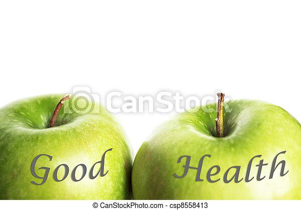 verde, buena salud, manzanas - csp8558413