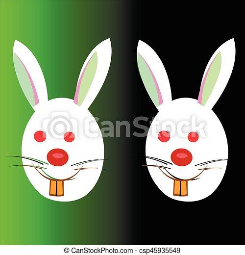 Conejos de Pascua en un fondo negro y verde - csp45935549