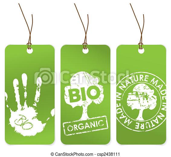 Un conjunto de tres etiquetas verdes para orgánicos - csp2438111