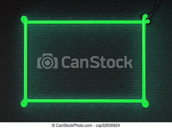 Verde Cornice Neon Render 3d Render Struttura Parete Neon