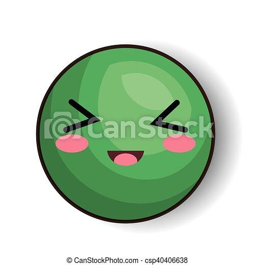 10 Eps Ilustracao Vetorial Verde Desenho Excitado Emoji