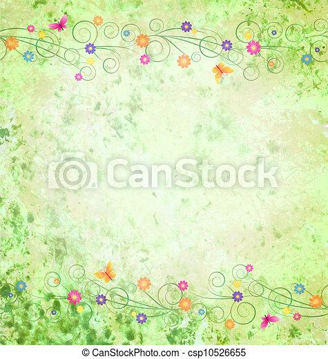 Antecedentes textures verdes con fronteras de flores - csp10526655