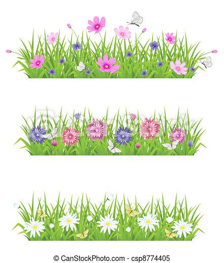 Hierba verde y flores - csp8774405