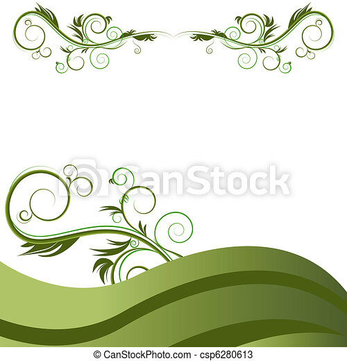 verde, flourishes, videira, fundo, onda - csp6280613