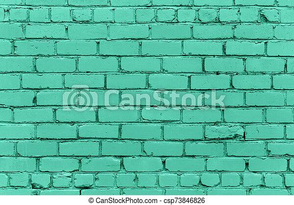 verde, ladrillo, moderno, pared, plano de fondo, monocromático - csp73846826
