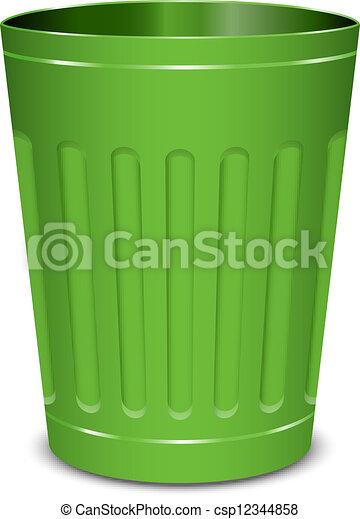 Un cubo de basura verde - csp12344858