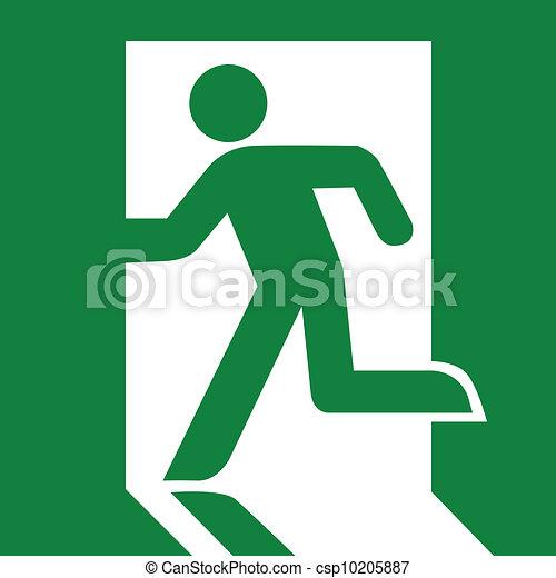 Signo de salida de emergencia verde - csp10205887