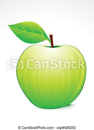 Manzana verde con vector de hojas - csp9426253