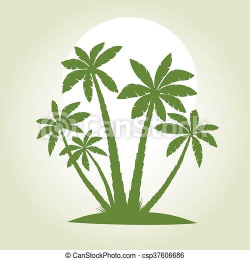 verde, vector, palma, illustration., árboles. - csp37606686