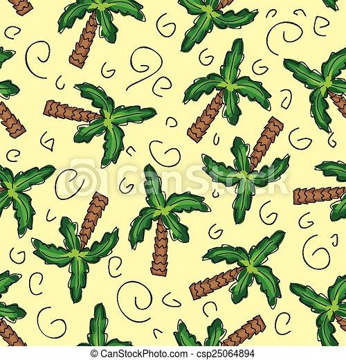 verde, vector, palma, seamless, árboles - csp25064894