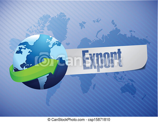 verden, eksporter, konstruktion, illustration, kort - csp15871810