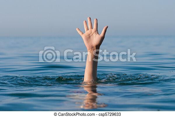 verdrinking, helpen, hand, enkel, vragen, zee, man - csp5729633