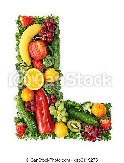 verdura, alfabeto, frutta - csp6119278