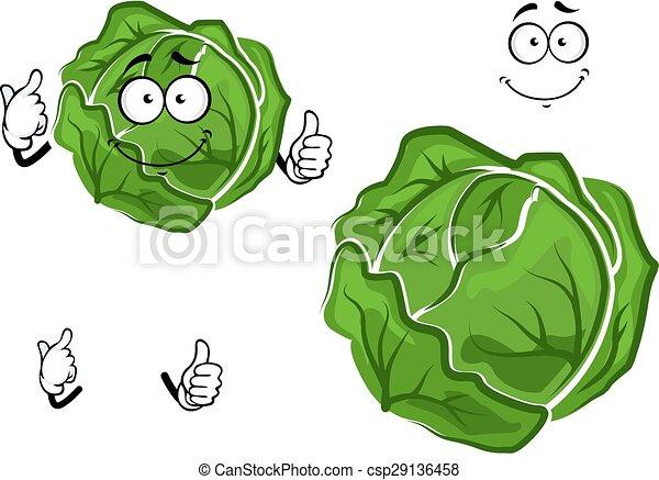 verdura, cavolo, verde, isolato, cartone animato - csp29136458