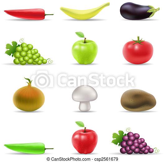verdura, frutta, icone - csp2561679