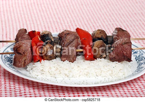 verdura, manzo, kabobs - csp5825718