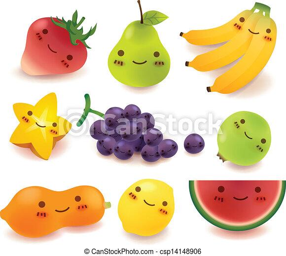 verdura, vect, frutta, collezione - csp14148906