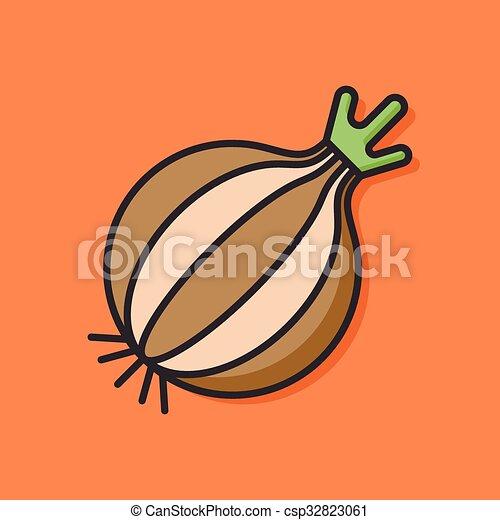 verdura, vettore, cipolla, icona - csp32823061