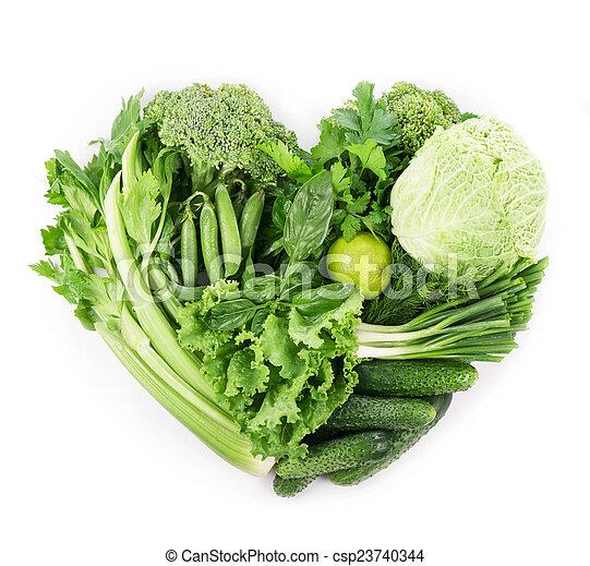 Verduras verdes frescas aisladas en blanco - csp23740344