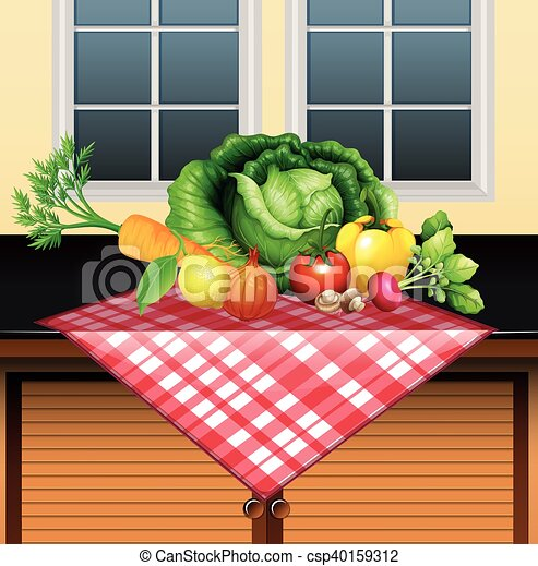verdure fresche, tavola - csp40159312