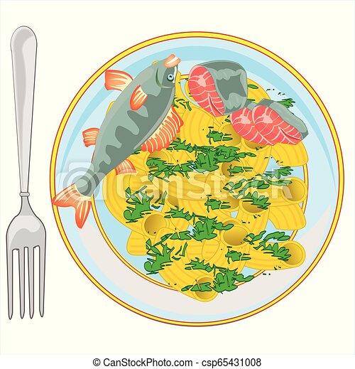 verdure, nudel, fische, heiß, besprüht, tellergericht - csp65431008