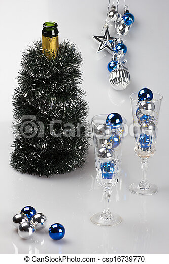 verfraaide, champagne fles, bril - csp16739770