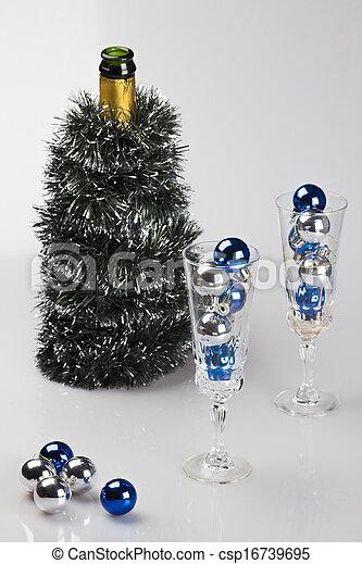 verfraaide, champagne fles, bril - csp16739695