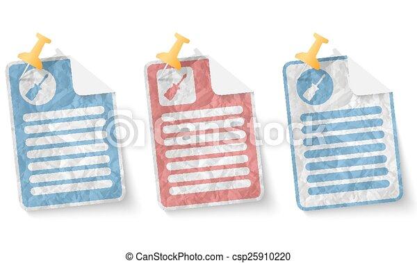 verfrommeld papier, schroevendraaier, document - csp25910220
