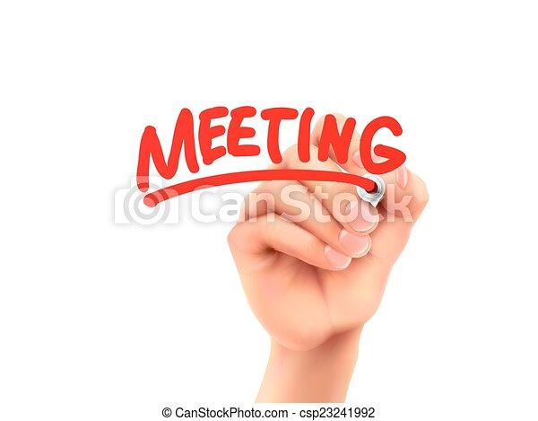 vergadering, geschreven woord, hand - csp23241992