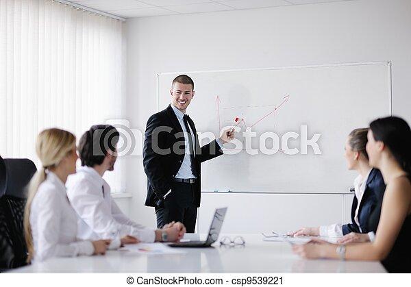 vergadering, zakenkantoor, mensen - csp9539221