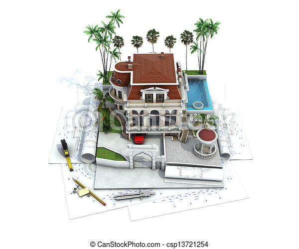 Vergegenwartigung Haus Design Architektur Fortschritt Zeichnung