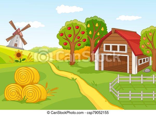 verger fruit, paysage, coloré, ferme - csp79052155