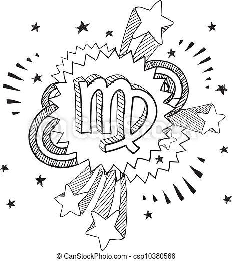 vergine, zodiaco, schizzo - csp10380566