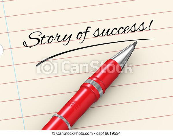 verhaal, succes, -, pen, papier, 3d - csp16619534