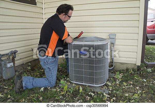 verificar, ar, exterior, condicionamento, repairman, unidade, voltagem - csp30566994