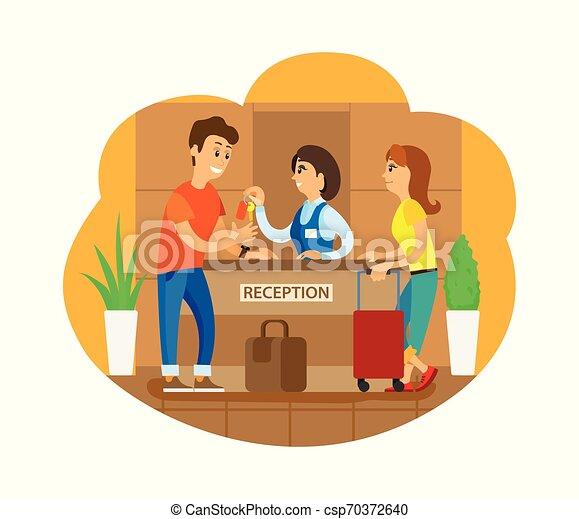 Recepcionistas del hotel registrando turistas - csp70372640