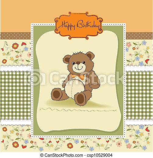 verjaardag kaart, beer, teddy - csp10529004