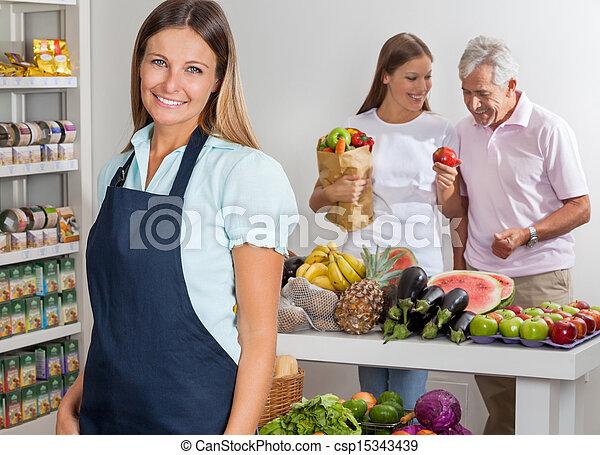 verkäuferin, shoppen, hintergrund, familie - csp15343439