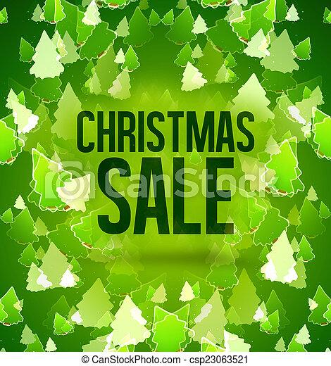 verkauf, bäume, grüner hintergrund, design, weihnachten - csp23063521