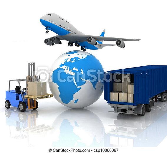 Flieger mit Globus und Autoladung - csp10066067