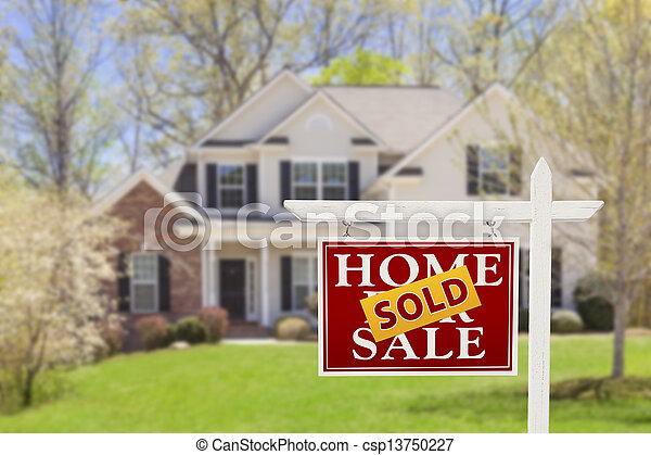 verkligt gods, hus, såld, realisation signera, hem - csp13750227