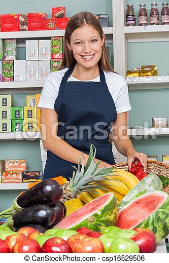 verkoopster, werkende , supermarkt, vrolijke  - csp16529506