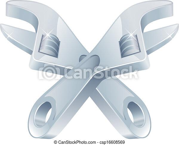 verktyg, korsat, skruvnycklar, ikon - csp16608569