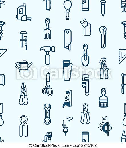 verktyg, seamless, bakgrund, ikon - csp12245162