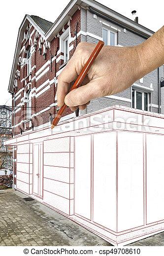 Verlängerung, Haus, Modern, Geplant, Neu , Zeichnung   Csp49708610