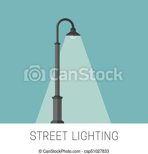 Verlichting, straat, spandoek. Plat, straat, banner., lamppost ...