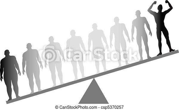 verlies, schub, passen, gewicht, dieet, dik, fitness, wegen - csp5370257